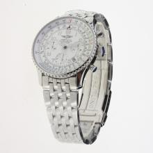 Breitling Navitimer Chronograph Swiss Valjoux 7750 Movement Number Markers with White Dial S/S