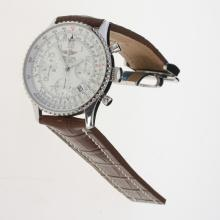 Breitling Navitimer Chronograph Swiss Valjoux 7750 Movement Number Markers with White Dial-Leather Strap