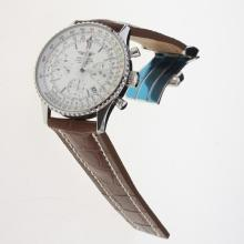 Breitling Navitimer Chronograph Swiss Valjoux 7750 Movement Stick Markers with White Dial-Leather Strap