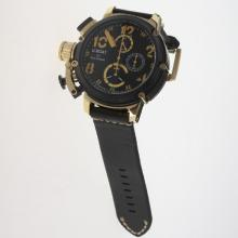 U-Boat Italo Fontana Working Chronograph PVD/Gold Case with Black Dial-Leather Strap