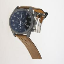 Tag Heuer Working Chronograph Titanium Case White Markers with Black Dial-Leather Strap