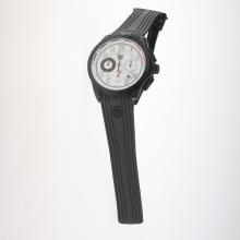 Tag Heuer Carrera CAL. HEUER 01 Working Chronograph PVD Case with White Dial-Rubber Strap