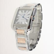 Cartier Tank Swiss ETA 2836 Movement Two Tone Roman Markers with White Dial
