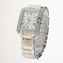 Cartier Tank Swiss ETA 2836 Movement Two Tone Diamond Bezel Roman Markers with White Dial
