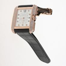 Cartier Tank Swiss ETA 2836 Movement Rose Gold Case Diamond Bezel & Markers with White Dial-Leather Strap