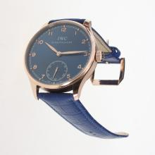 IWC Portuguese Manual Winding Rose Gold Case with Blue Dial-Leather Strap
