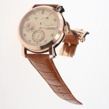 Vacheron Constantin 18K Plated Gold Automatic Movement Rose Gold Case with Champagne Dial-Leather Strap