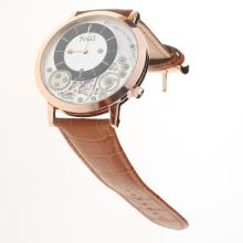 Piaget Altiplano Rose Gold Case with White Dial-Leather Strap