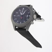 IWC Pilot Top Gun Working Chronograph Titanium Case with Black Dial-Nylon Strap