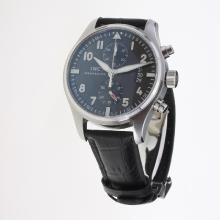 IWC Pilot Chronograph Swiss Valjoux 7750 Movement with Black Dial-Leather Strap-2