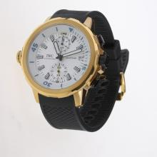 IWC Aquatimer Working Chronograph Gold Case White Markers with White Dial-Rubber Strap