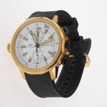 IWC Aquatimer Working Chronograph Gold Case Yellow Markers with White Dial-Rubber Strap