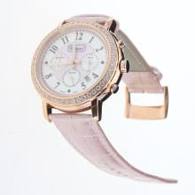 Chopard Imperiale Working Chronograph Rose Gold Case Diamond Bezel with Pink MOP Dial-Pink Leather Strap