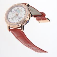 Chopard Imperiale Working Chronograph Rose Gold Case Diamond Bezel with Purple MOP Dial-Red Leather Strap