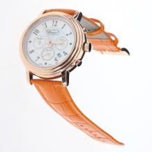 Chopard Imperiale Working Chronograph Rose Gold Case with MOP Dial-Orange Leather Strap