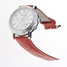 Chopard Imperiale Working Chronograph with MOP Dial-Red Leather Strap