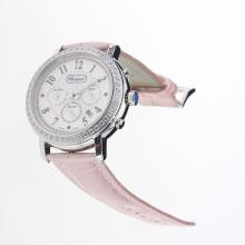 Chopard Imperiale Working Chronograph Diamond Bezel with Pink MOP Dial-Pink Leather Strap