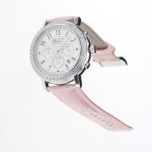 Chopard Imperiale Working Chronograph Diamond Bezel with MOP Dial-Pink Leather Strap