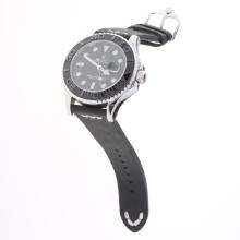 Rolex Yachtmaster Automatic Ceramic Bezel with Black Dial-Leather Strap