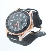 Rolex Yachtmaster Automatic Rose Gold Case Ceramic Bezel with Black Dial-Leather Strap