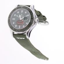 Rolex Yachtmaster Automatic Ceramic Bezel with Green Dial-Leather Strap