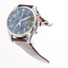 IWC Pilot Chronograph Swiss Valjoux 7750 Movement with Gray Dial-Leather Strap