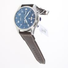 IWC Pilot Chronograph Swiss Valjoux 7750 Movement with Blue Dial-Leather Strap