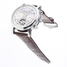 Patek Philippe Perpetual Calendar Tourbillon Automatic with White Dial-Leather Strap