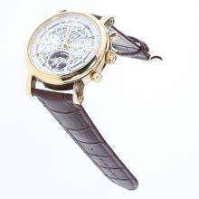 Patek Philippe Perpetual Calendar Tourbillon Automatic Gold Case with White Dial-Leather Strap-5