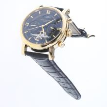 Patek Philippe Perpetual Calendar Tourbillon Automatic Gold Case with Black Dial-Leather Strap-1