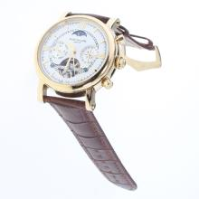 Patek Philippe Perpetual Calendar Tourbillon Automatic Gold Case with White Dial-Leather Strap-1