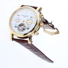 Patek Philippe Perpetual Calendar Tourbillon Automatic Gold Case with White Dial-Leather Strap