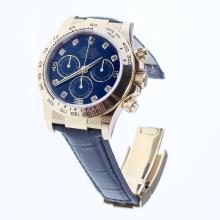 Rolex Daytona Swiss Calibre 4130 Chronograph Movement Gold Case Diamond Markers with Black Dial-Leather Strap-1
