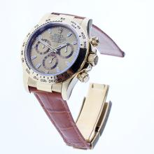 Rolex Daytona Swiss Calibre 4130 Chronograph Movement Gold Case Stick Markers with Golden Dial-Leather Strap