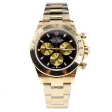 Rolex Daytona Swiss Calibre 4130 Chronograph Movement Full Gold Stick Markers with Black Dial-2