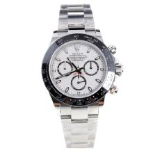 Rolex Daytona Swiss Calibre 4130 Chronograph Movement Ceramic Bezel Stick Markers with White Dial S/S-1