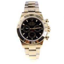Rolex Daytona Swiss Calibre 4130 Chronograph Movement Full Gold Stick Markers with Black Dial-1