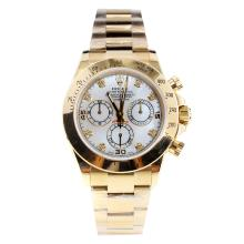 Rolex Daytona Swiss Calibre 4130 Chronograph Movement Full Gold Diamond Markers with MOP Dial