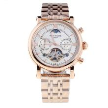 Patek Philippe Perpetual Calendar Tourbillon Automatic Full Rose Gold with White Dial-2