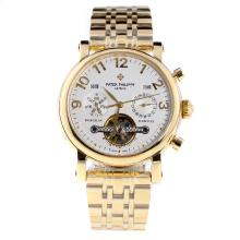 Patek Philippe Perpetual Calendar Tourbillon Automatic Full Gold with White Dial-2