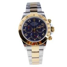 Rolex Daytona Swiss Calibre 4130 Chronograph Movement Two Tone Number Markers with Blue Dial