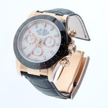 Rolex Daytona Swiss Calibre 4130 Chronograph Movement Rose Gold Case Ceramic Bezel Stick Markers with White Dial-Leather Strap