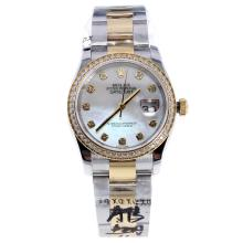 Rolex Datejust Swiss ETA 2836 Movement Two Tone Diamond Bezel and Markers with MOP Dial-High Quality Version-1