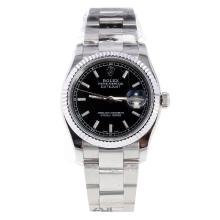 Rolex Datejust Swiss ETA 2836 Movement Stick Markers with Black Dial S/S-High Quality Version
