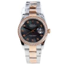 Rolex Datejust Swiss ETA 2836 Movement Two Tone Diamond Bezel and Markers with Black MOP Dial-High Quality Version