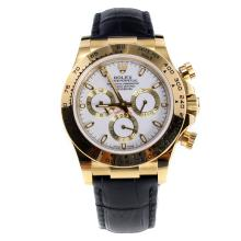 Rolex Daytona Swiss Calibre 4130 Chronograph Movement Gold Case Stick Markers with White Dial-Leather Strap