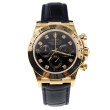 Rolex Daytona Swiss Calibre 4130 Chronograph Movement Gold Case Diamond Markers with Black Dial-Leather Strap