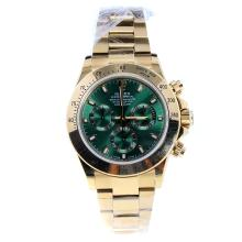Rolex Daytona Swiss Calibre 4130 Chronograph Movement Full Gold Stick Markers with Green Dial
