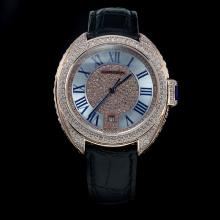 Cartier Cle de Cartier Automatic Diamond Rose Gold Case with Roman Markers-Leather Strap-1