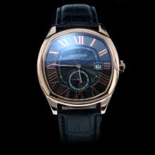 Cartier Drive de Cartier Automatic Rose Gold Case Roman Markers with Black Dial-Leather Strap